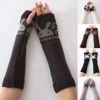 Women Winter Bunny Pattern Arm Warmer Knit Fingerless Long Gloves Half Fingers