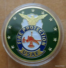 Fire protection USAF   24K GOLD  PLATED 40 mm  Challenge  COIN  #1B