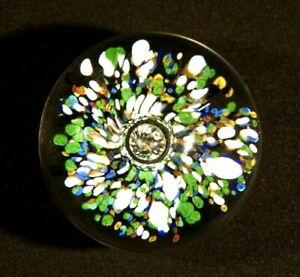 Beautiful Vintage Blue Green & White Center Bubble Paperweight