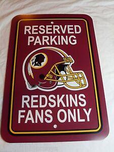 """NFL Washington Redskins RESERVED PARKING SIGN REDSKINS FANS ONLY 12""""x18"""" Plastic"""