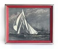 VINTAGE YACHT SHIP NAUTICAL ETCHING PRINT on PLASTIC BOARD Red FRAME