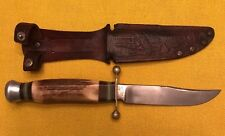 Vintage Hubertus Solingen Stag Fixed Blade Knife & Embossed Sheath Germany