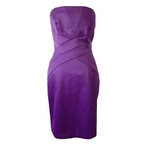 F&F 12 Dress Bodycon Purple Strapless Bandeau Cocktail Party Fitted Pencil Zip