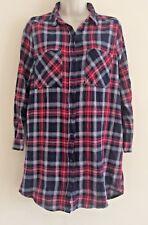 "ATMOSPHERE shirt dress 10 38 B 38"" red blue check plaid 100% cotton long sleeve"