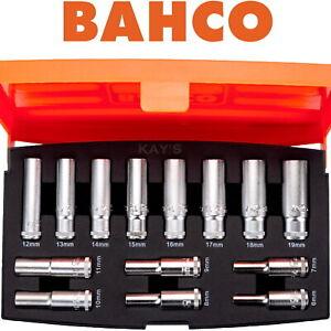 "BAHCO Socket Set 14 Pce Long Reach Deep Metric Sockets 3/8"" Square Drive S1214L"