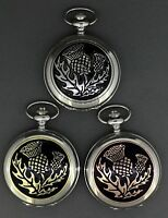 New WESTIME Silver Case Scottish Thistle Pocket Watch and Chain Boxed