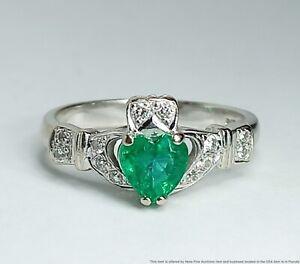 Irish 14k White Gold Natural Heart Emerald & Diamond Claddagh Ring HM Signed