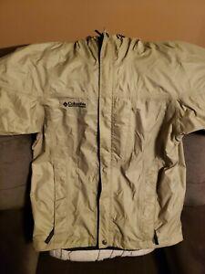 Columbia Omni Tech Mens Rain Hooded Jacket Tan Waterproof Breathable Mens Small