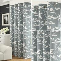 SILVER GREY WHITE FLORAL LAUREL LEAVES THICK VOILE EYELET MODERN CURTAIN PANEL