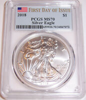 2018 FDoI $1 PCGS MS70 First Day of Issue Flag Silver American Eagle FDI