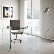 Scrittoio scrivania vetro curvo Glassy 120 - ufficio, tavolo da pranzo, curvato