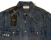 $750 Saint Laurent Blue Denim Cotton Western Style Shirt Size L Made in Japan