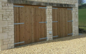WOODEN TREATED / THERMOWOOD PAIR OF GARAGE DOORS 'LEIGHTON'