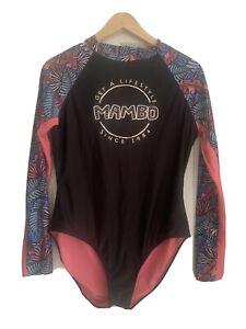 Mambo Women's Bodysuit Swimsuit Size 14 Long Sleeve Beach Surf Pool  Zip front