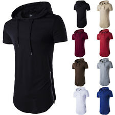 2017 Men Slim Fit Hooded Hoodie Short Sleeve T-shirt Tops Muscle Tee Sport Shirt