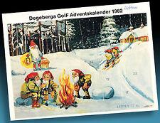 ALTER GOLF TANKSTELLEN ADVENTSKALENDER WICHTEL LAGERFEUER IM WINTERWALD 1982