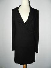 Robe femme col châle Jersey extensible noir taille 38/40 M TBE