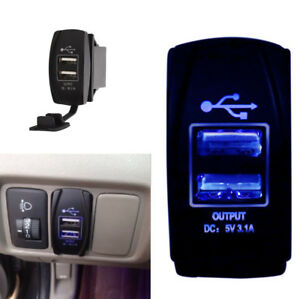 Blue LED 12/24V 3.1A Car Dual USB Phone Charger Port Socket Kit for Power Supply