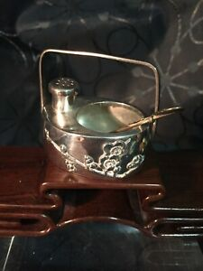 Antique Japanese Asian Sterling Silver Condiment w Spoon & Cherry Blossom Motif
