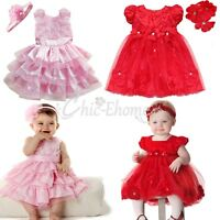 Toddler Kids Baby Girls Wedding Princess Pageant Rosette Petals Dress Headband