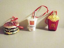 McDonald's Big Mac Extra Value Meal Glass Christmas Ornaments NIB