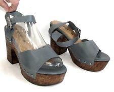 M par M Sandals Manon Heels + Leather Platform Bluish Grey, Uk4, New
