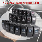 12V 20A Bar 5 Pin Rocker Toggle Switch Blue LED Light SPST ON-OFF Car Boat RV