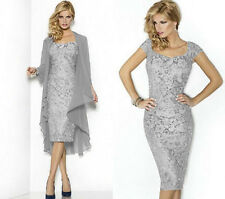 Silver Lace Formal Evening Mother of the Bride Dresses & Free Jacket Size 6--20