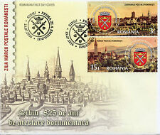 Romania 2016 FDC Stamp Day Sibiu 825 Yrs 2v Cover Architecture Buildings Stamps