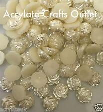 80x 12mm Cream Ivory Flat Back Rose Flower Resin Pearls Craft Wedding Beads Gems