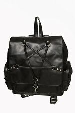 BANNED JAMIE PENTAGRAM BLACK BACKPACK HANDBAG LADIES GOTHIC OCCULT RUCKSACK