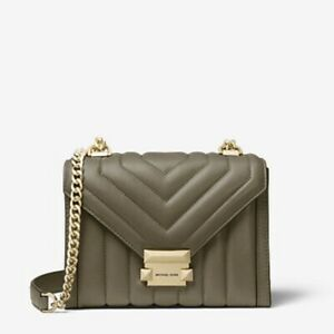 Michael Kors Whitney Small Quilted Leather Convertible Shoulder Bag Army