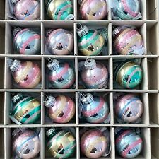 New ListingChristopher Radko Pastel Pastel Easter Pink Aqua Glass Ornaments Set of 20