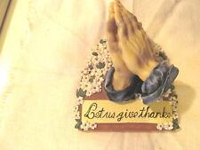 "Vintage Praying Hands ""Let us Give Thanks"" Table reminder- Plastic white flower"