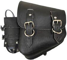 D Leather Black Leather Harley Softail Chopper Bobber Left Saddlebag + Holder