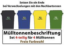 Mülltonnenaufkleber Set 4-teilig 7 + 3 cm  Komposttonne und Hausnummer