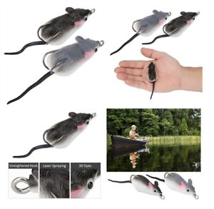 2 x Soft Mice Bait Rat Lure Mouse Top Water floating Fishing Lure Bass Crankbait