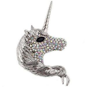 New On Card Statement Unicorn Head Silver Metal & Clear Crystal 7cmx4cm Brooch