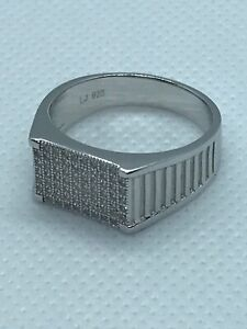 925 Sterling Silver Solid Cubic Zirconia Mens Pinky Ring All Sizes Brand New