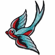 Blue Red Swallows / Sew on Embroidered Bird Patch Badge Applique Motif