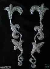 LR112 Mirror Fluer De Lis Floral Bugle Bead Puff Applique Silver Tutu/Dancewear