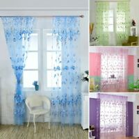 Romantic Floral-Tulle Voile Door Window Curtain Drape Panel Sheer Scarf Valance