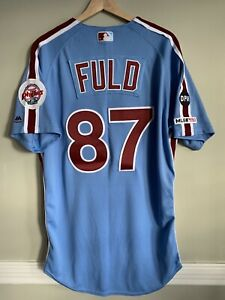 Sam Fuld Phillies Colombia Blue MLB Holo Game Issued Jersey GM