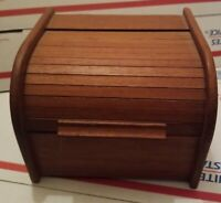 Vtg Mid Century Modern MCM Teak Winsome Wood Recipe Box Roll Top Tambour
