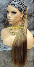 Human Hair Blend Ponytail Long Brown Golden Blonde Mix Hair Piece Extension NWT