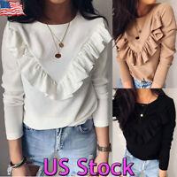 Women Frill Ruffle Long Sleeve Blouse Tops Ladies Loose Casual Plain T-Shirt Tee