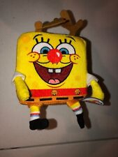 "NWT Nanco SpongeBob SquarePants Plush Reindeer Christmas Stuffed Toy 4.25"" Squar"