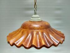 Lampadario rustico 1 luce E27 in terracotta color TEAK  e bianco perla oro