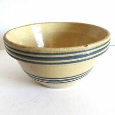 Antique Primitive Yellow Ware Stoneware Mixing Bowl Tripe Blue Stripes Free Sh