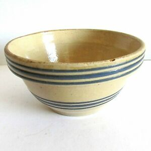 Antique Primitive Yellow Ware Stoneware Mixing Bowl Tripe Blue Stripes FREE SH